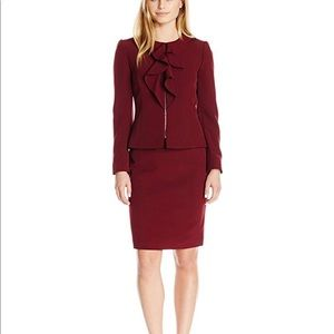 Crepe Skirt Suit with Ruffle Front